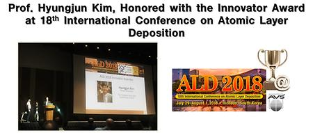 Prof. Hyungjun Kim, Honored with the Innovator Award at 18th International Conference on Atomic Layer Deposition